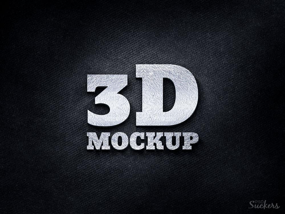 Share 3D Silver Logo MockUp PSD Template