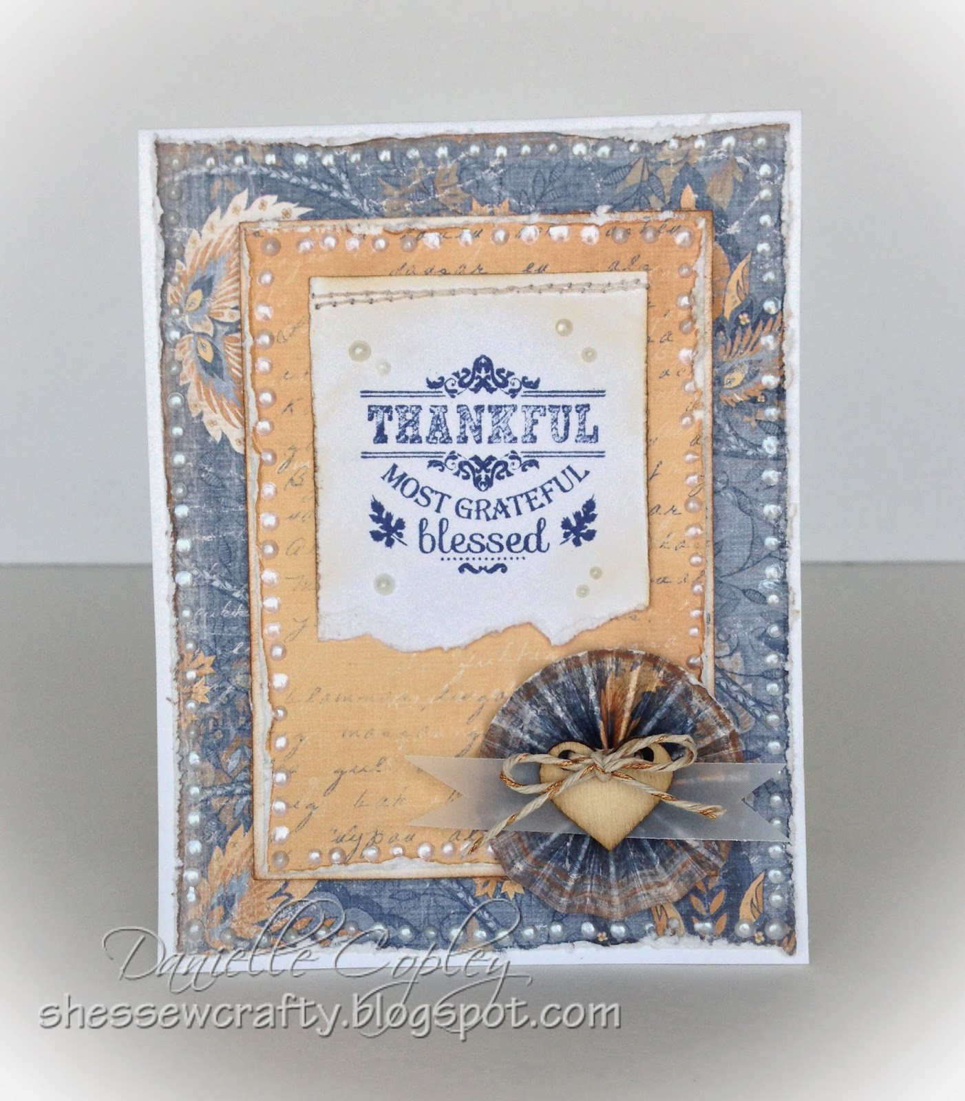 Thankful card, Vintage perfect for Thanksgiving using Maja Design papers for Scrapbook Maven