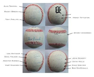 detroit tigers, 1993, entire team, signed baseball, sparky, trammel, fielder, whitaker