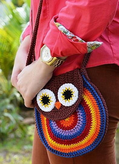 Solo esquemas y diseños de crochet: BOLSO BUHO!!!!