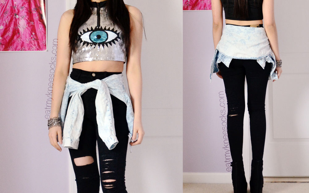 Front and back views of this edgy, grunge-inspired outfit. On top: the silver eye pattern crop top from SheInside. Bottom: ripped black jeans from SheInside.