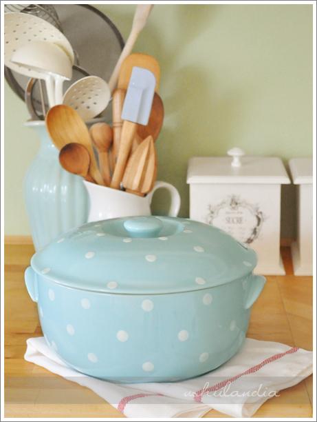 ceramiczne naczynie do zapiekania pastelowe w groszki / pastel & polka dot ceramic casserole
