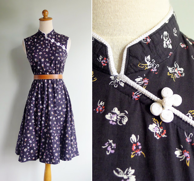 vintage black mandarin asian dress