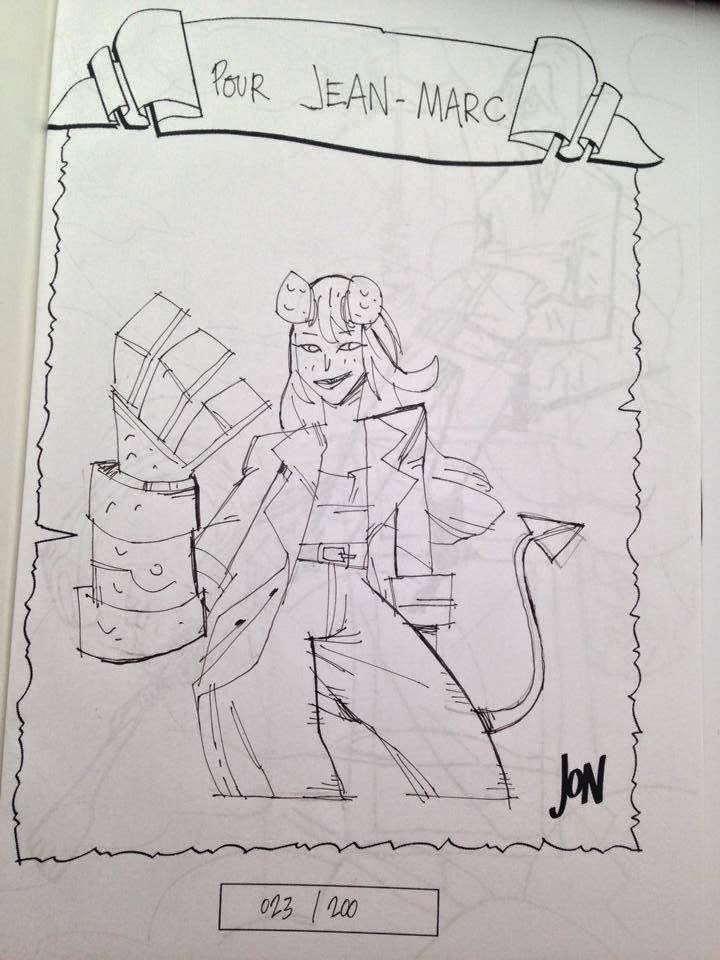 jonathan jon lankry 2D artist animation comic book animated sketchbook 2014 dedicace hellgirl hellboy dark horse mike mignola