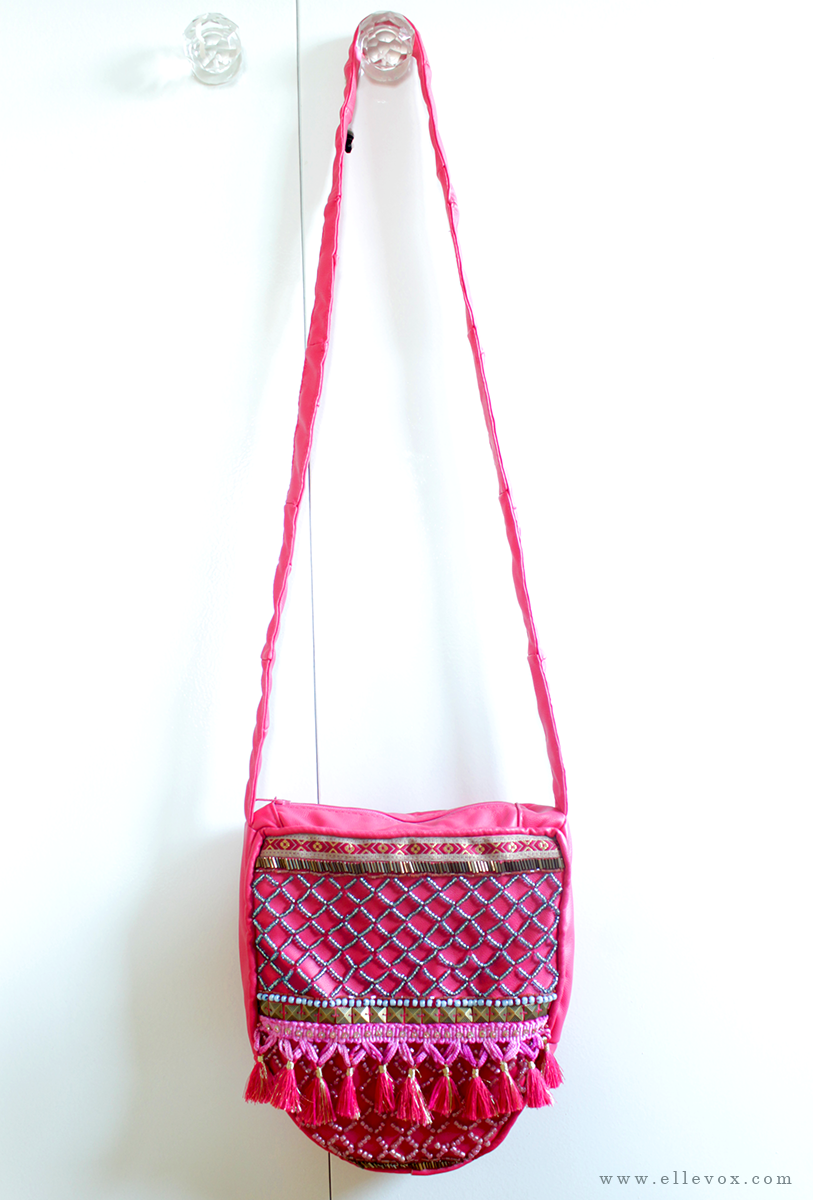 handmade pink embellished shoulder bag