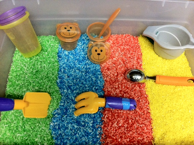 Colorful Rice Sensory Bin Mine For The Making