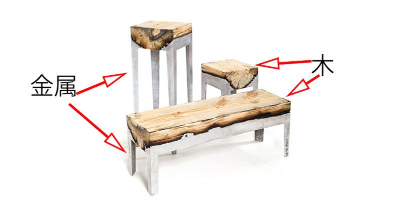 木に金属を流し込んだテーブルがステキすぎる