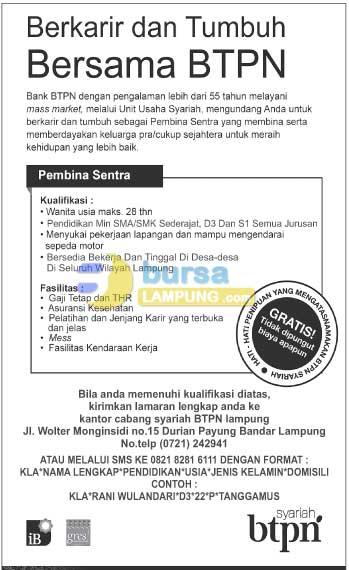 Peluang Karir Bersama BANK BTPN, Lowongan Kerja Lampung Rabu 28 Januari 2015