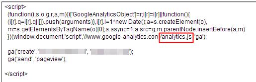 追蹤網頁的程式碼analytics.js