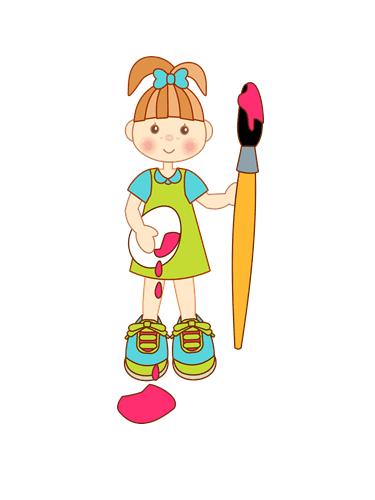 niña con pincel para colorear huevos de pascua