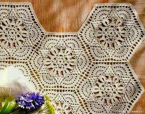 Granny hexagonal con hermoso diseño al crochet