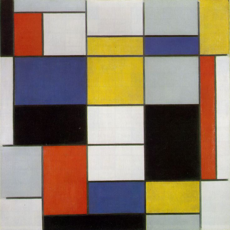 Piet Mondrian Composition with Black Red Gray Yellow and Blue 1920