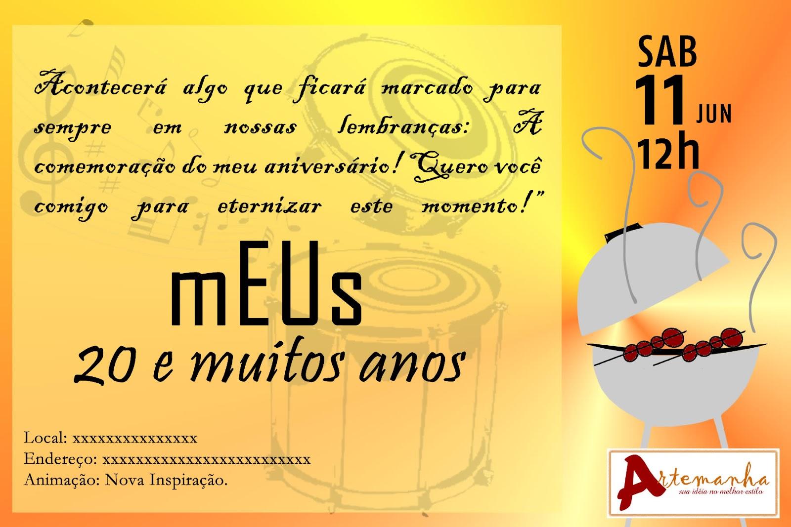 Convite Churrasco As Artes Dela