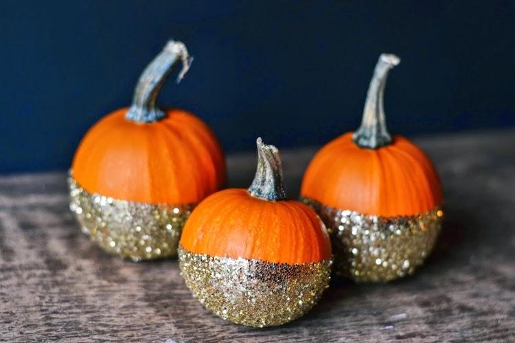 Gold Glitter Dipped Pumpkin