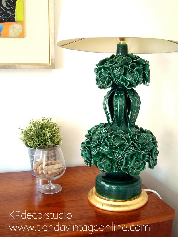 Lámparas cerámica de manises años 50 antiguas, restauradas con cable nuevo.