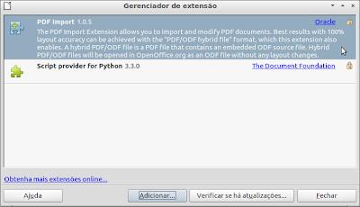 Gerenciador de extensão do LibreOffice