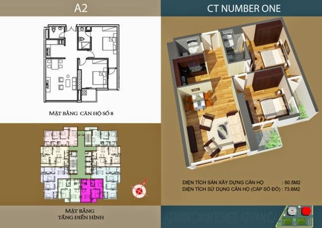 thiết kế chi tiết căn hộ số 8 - 73,6 m2 dự án ct number one
