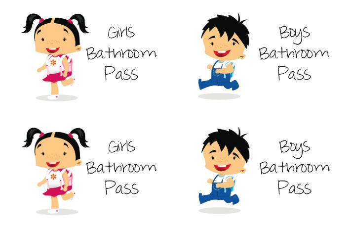 School Bathroom Pass Clipart Bathroom Pass Inside Of