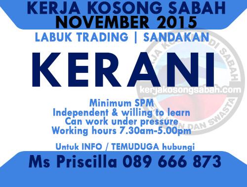 Kerja Kosong Kerani Labuk Trading Sandakan Jawatan Kosong Terkini Negeri Sabah