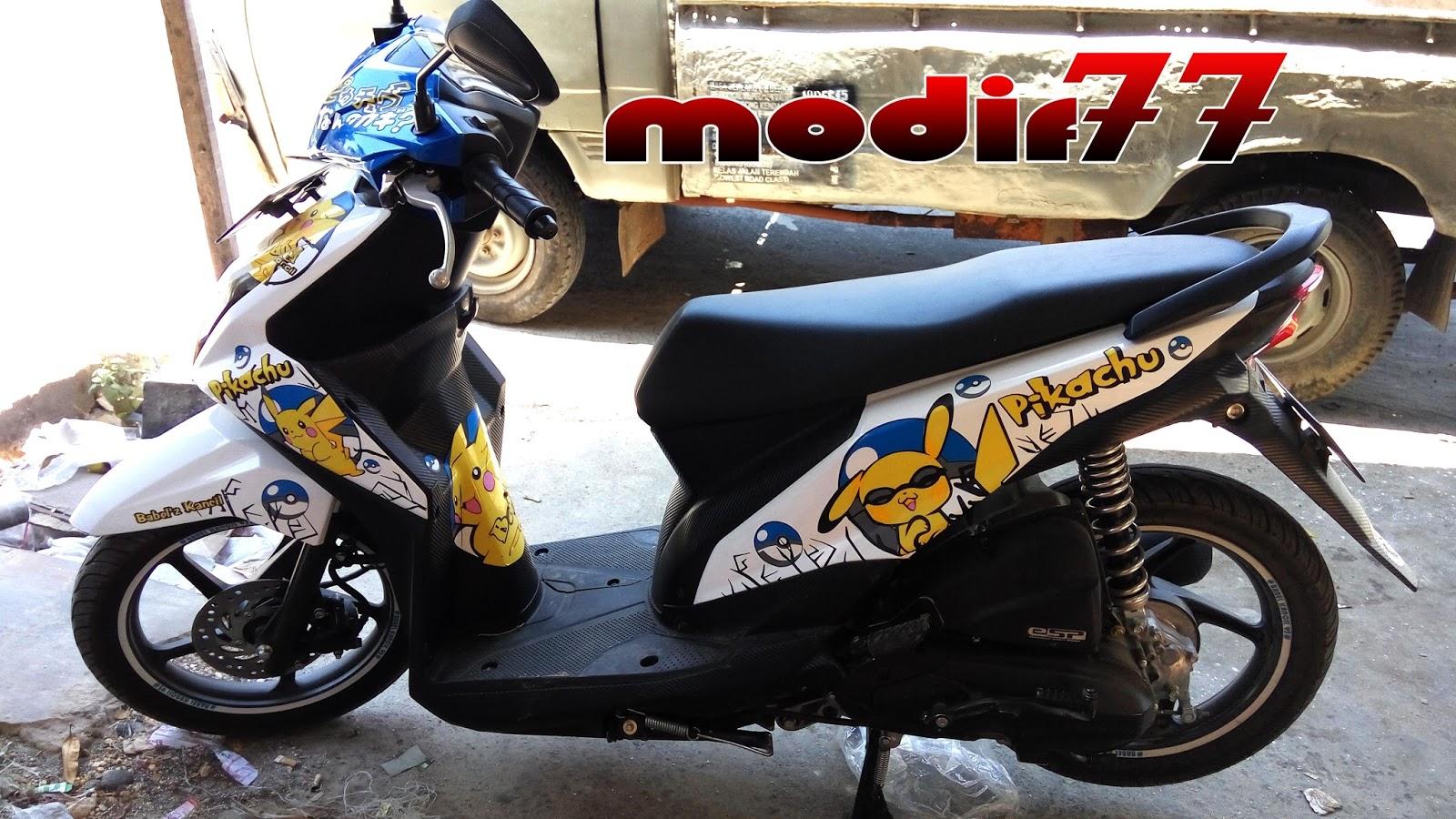 modifikasi honda beat 2015 full pikachu anime biru putih | modif 77