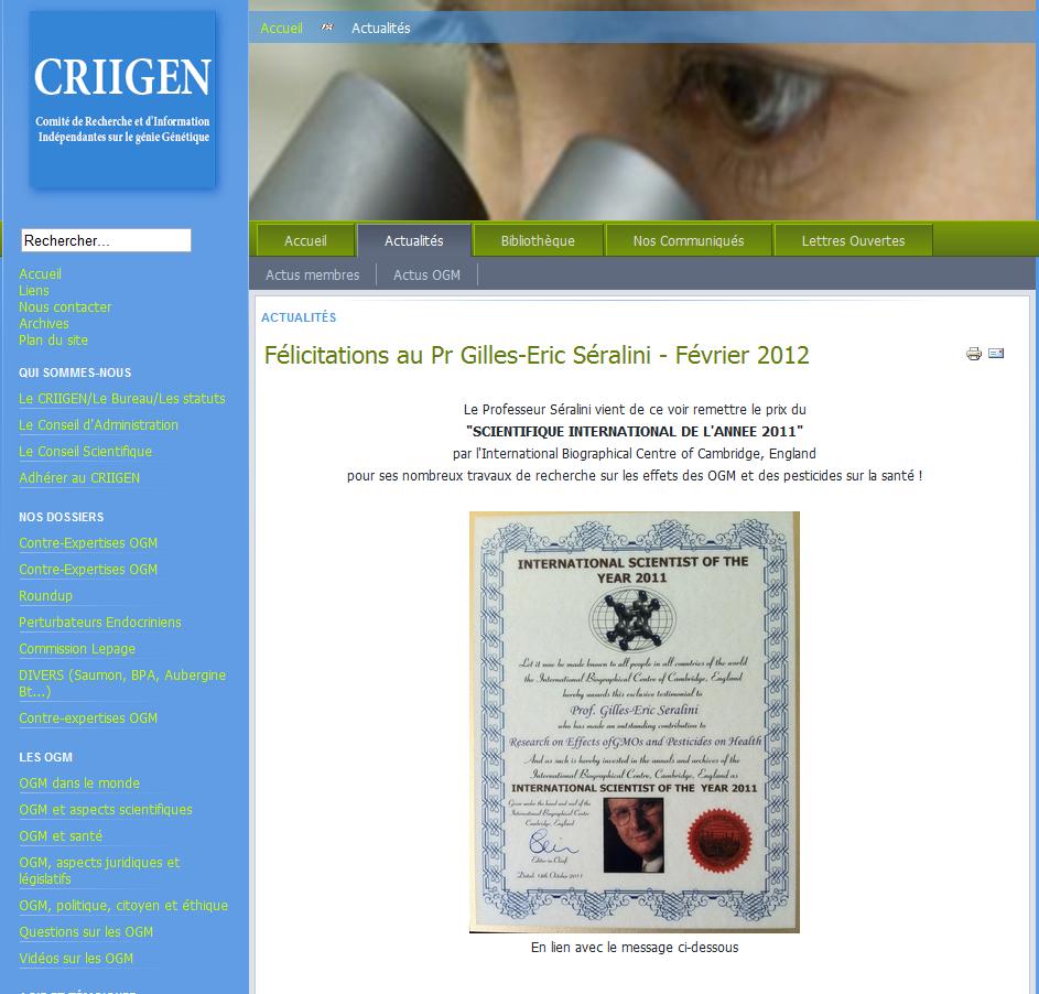 """Résultat de recherche d'images pour """"seralini scientist of the year"""""""