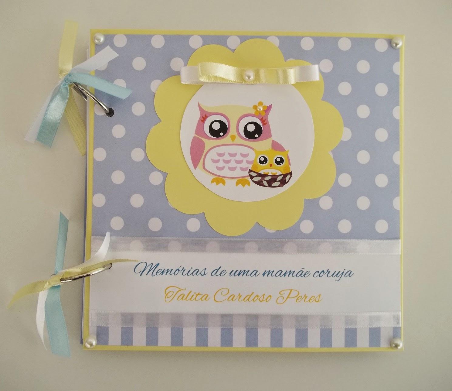 enxoval  coruja, enxoval corujinha, diário gravidez scrapbook gravidez azul e amarelo