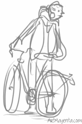 Bicyling, gesture drawing on iPhone by Artmagenta