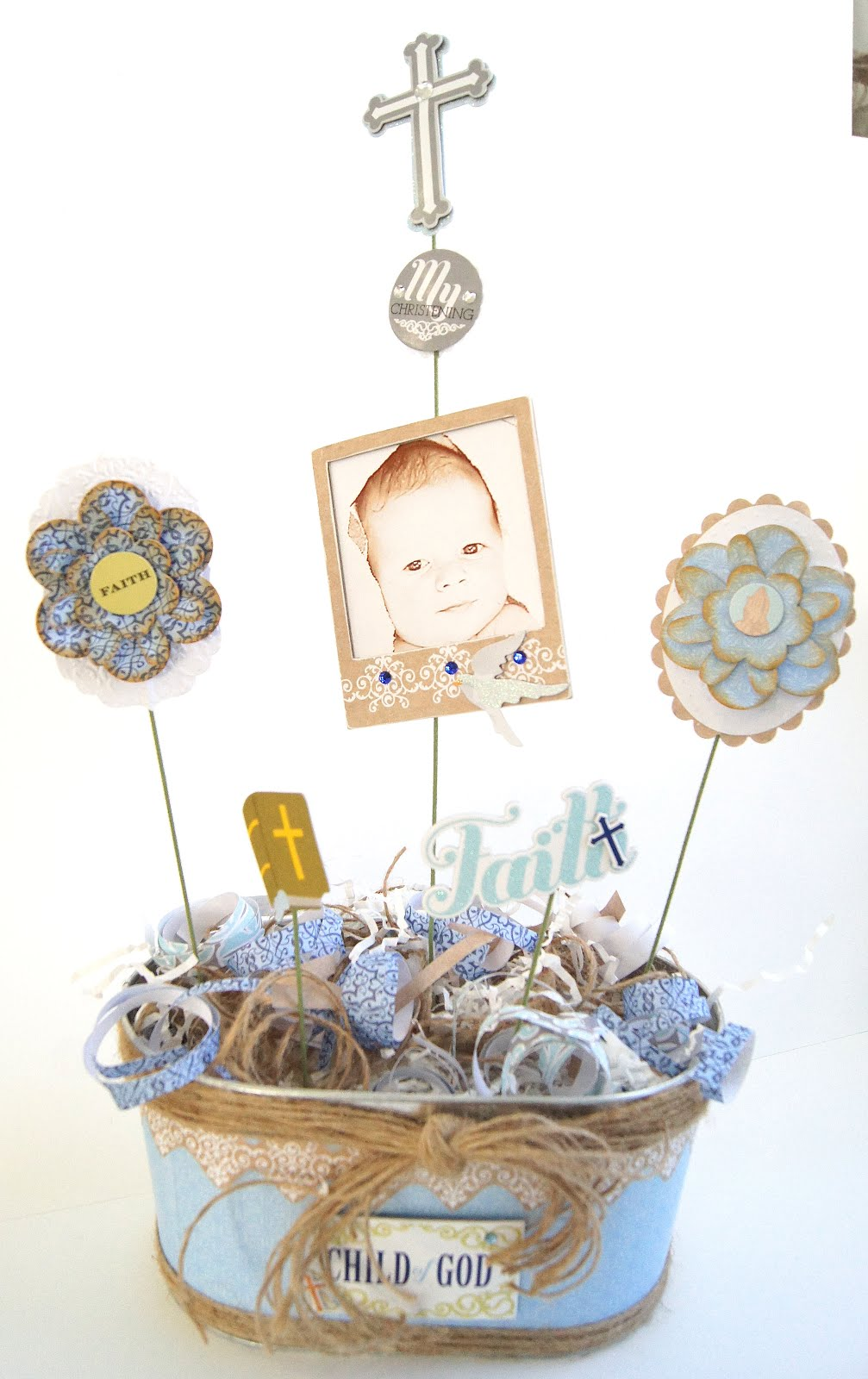 Maryfrances fabbri christening centerpiece show and tell - Simple baptism centerpieces ...