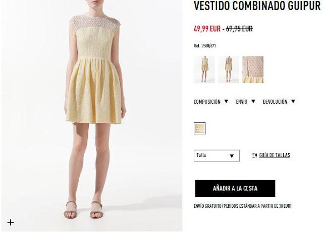 Vestido amarillo combinado Zara primavera/verano 12