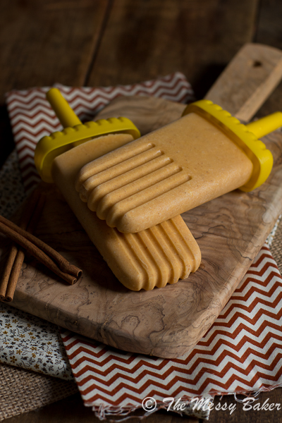 Pumpkin Cheesecake Popsicles {a #SummerOfThePopsicle guest post: The Messy Baker} | www.girlichef.com