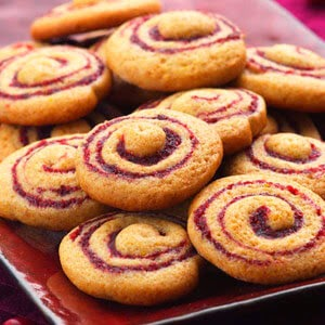 Cranberry-Honey Spice Pinwheel Cookies, Delish, 54 calories