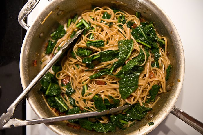 Spaghetti Carbonara with Garlicky Greens - The Yellow TableThe Yellow ...