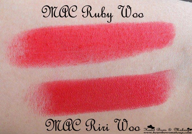 MAC RiRi Woo Review Swatches Pictures MAC RiRi Woo Ruby Woo Comparative Swatches