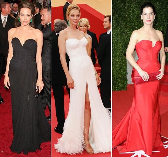 modelos de vestidos longos tomara que caia coloridos