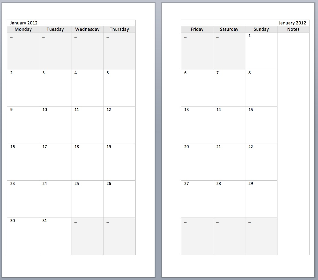 ... : Free Monthly 2012 diary sets to download and print for your Filofax