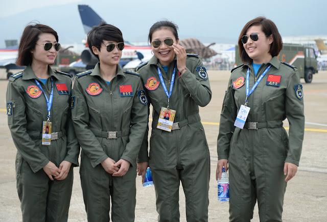 Four female pilots of China's Bayi Aerobatic Team
