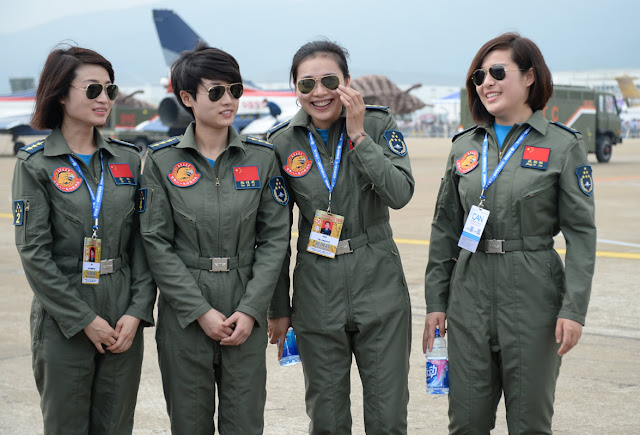 Four female pilots of China's Bayi Aerobatic Team