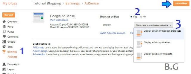 cara menempatkan iklan adsense di blog