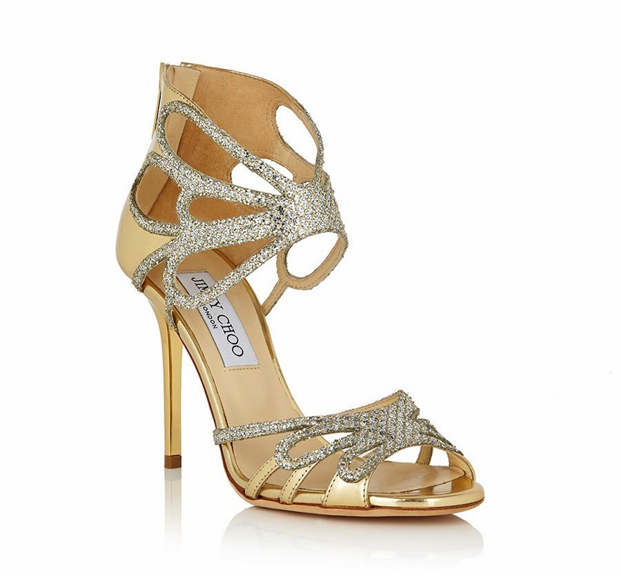 Jimmy Choo Melody Champagne Leather Heels