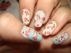 unhas artisticas nail art florais