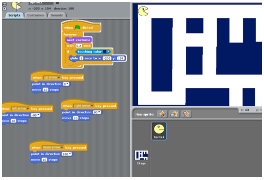 how to make sprites go to clons in scratch