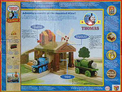 Thomas and Friends Wooden Railway Toy set - Haunted Mine Tunnel Percy the tank engine toy box back