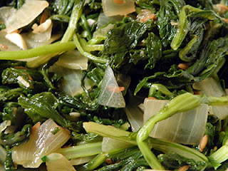 Closeup of Spicy Greens with Cumin