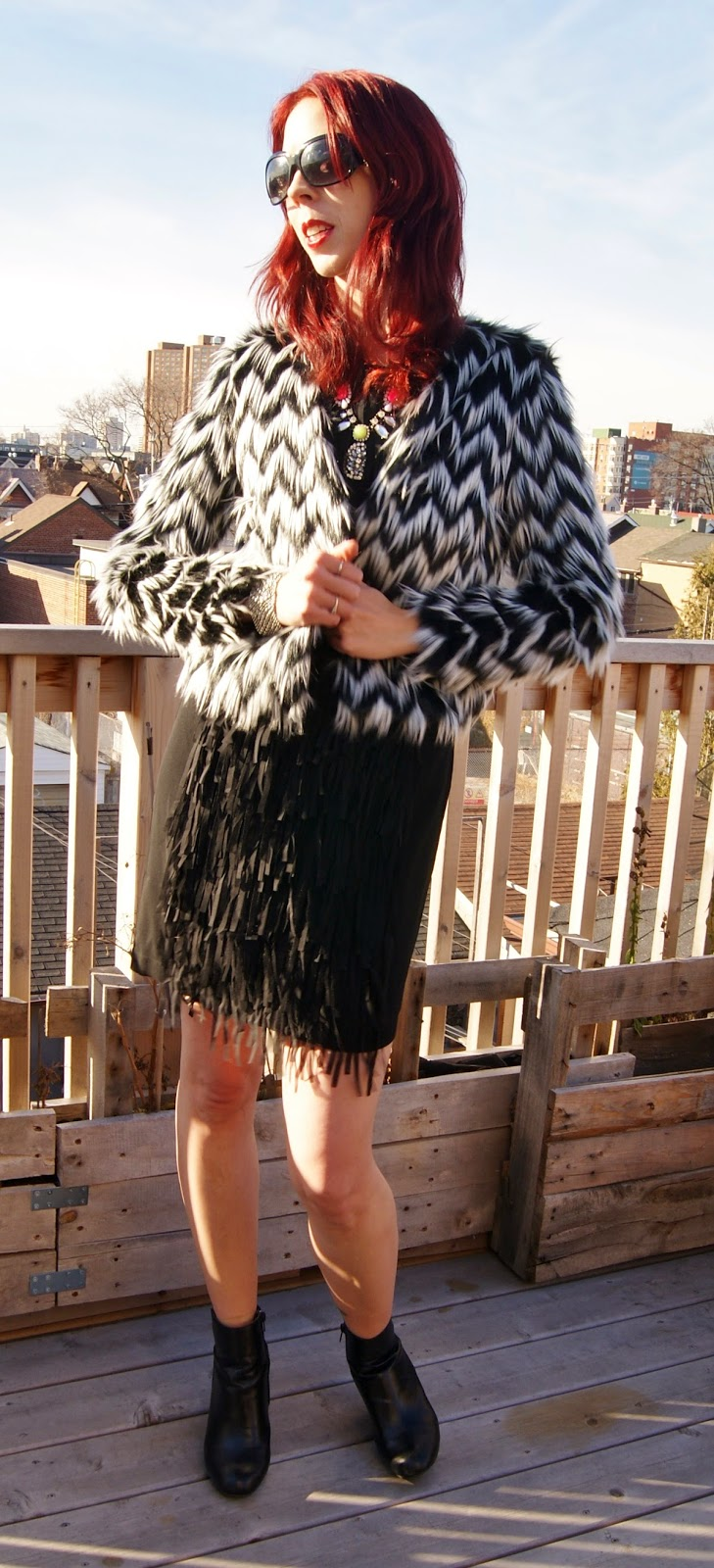 Party Ready!:  Joe Fresh Little Black Fringe Dress, H&M Faux Fur Jacket, Shop For Jayu Neon Necklace, Expression Booties from Hudson's Bay, Aldo Feather Clutch, fashion, style, New Year's Eve, Outfit, Look, OOTD, party, the purple scarf, melanie.ps, toronto, ontario, canada, sunglasses, jewlery, accessories