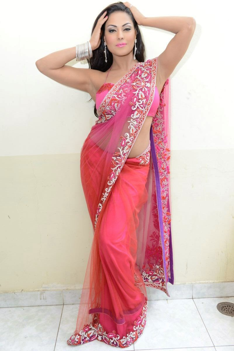 Veena malik Hot wallpapers in Pink Saree