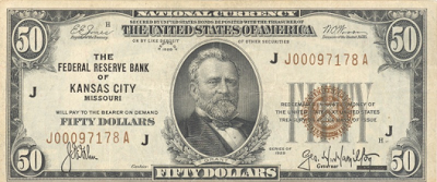 Federal Reserve Bank Note - issued in denominations under $100 by FDR