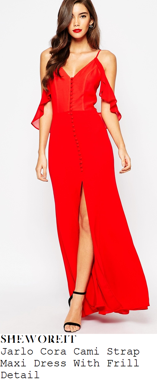 lauren-pope-red-sleeveless-frill-front-split-maxi-dress-magic-mike