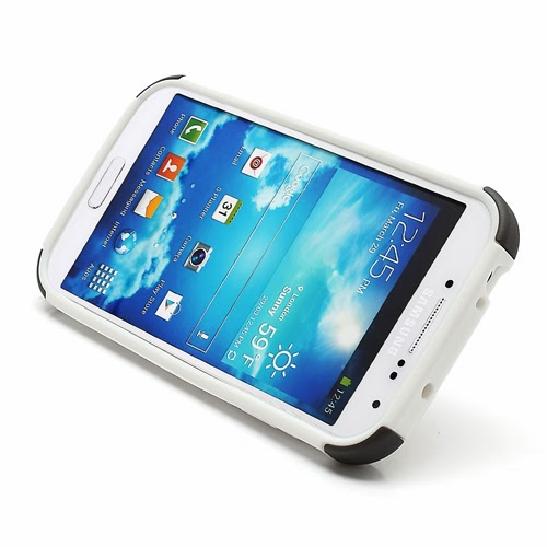 Tough Rugged TPU & PC Stand Hybrid Case for Samsung Galaxy S IV S4 i9500 i9502 i9505 - Black / White