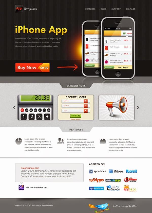 Iphone App Website Template PSD