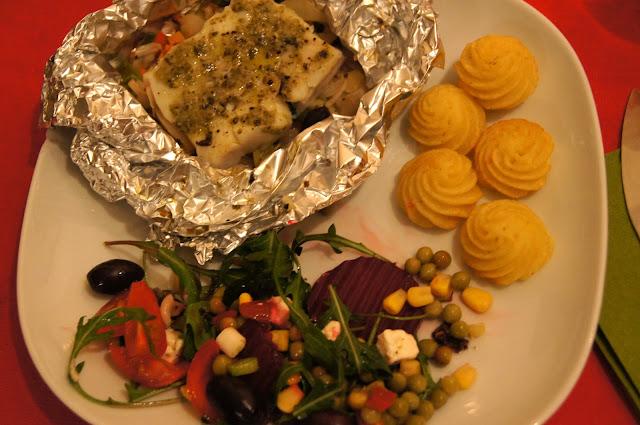 Het hoofdgerecht: voor deze ene keer pesto vis (ik ben vegetarisch ...